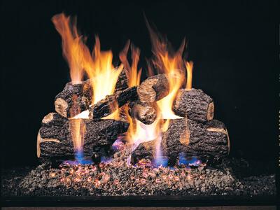 Charred Oak wood on fire