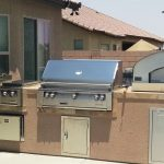 "Wood fired pizza oven, 42"" Alfresco grill, Double side burner, warming drawer, drop in cooler."